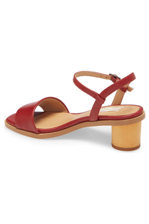 Topanga Red Vegan Leather Block Heel Sandal Back