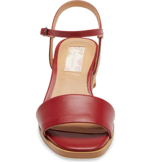 Topanga Red Vegan Leather Block Heel Sandal Front