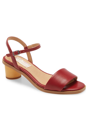 Topanga Red Vegan Leather Block Heel Sandal Master