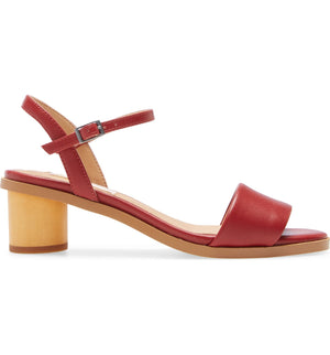 Topanga Red Vegan Leather Block Heel Sandal Side