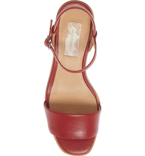 Topanga Red Vegan Leather Block Heel Sandal Top