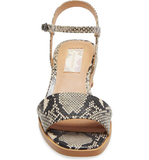 Topanga Snake Vegan Leather Block Heel Sandal Front
