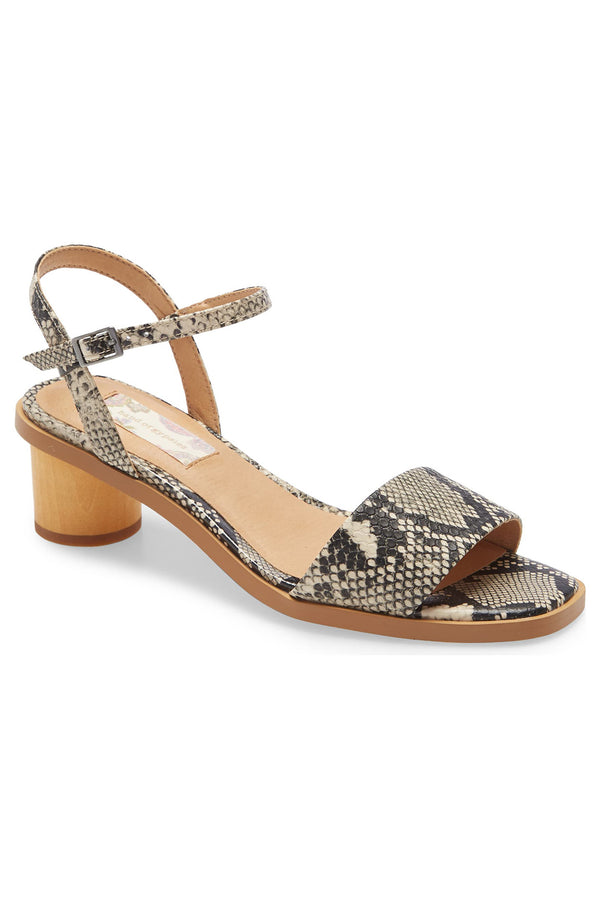 Topanga Snake Vegan Leather Block Heel Sandal Master