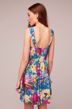 Topaz Magenta Floral Print Sundress Dress Back