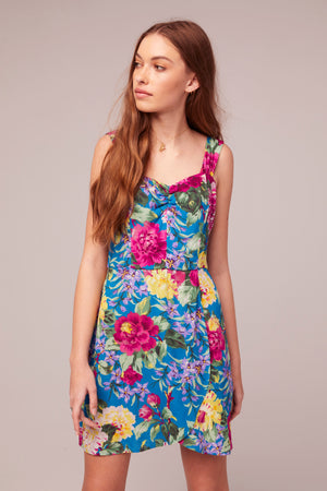 Topaz Magenta Floral Print Sundress Dress Close