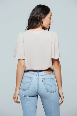 Toulon Misty Mauve Ruched Center Top Back