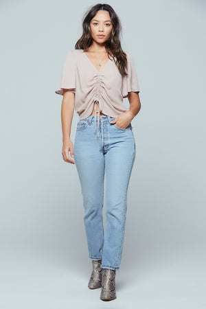 Toulon Misty Mauve Ruched Center Top Detail