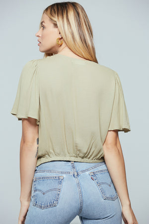 Toulon Sage Ruched Center Top Back