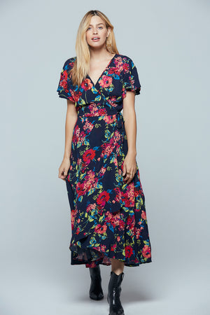 Treasure Beach Floral Wrap Maxi Dress Detail
