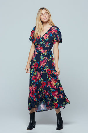 Treasure Beach Floral Wrap Maxi Dress Master