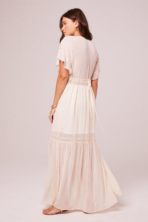 Trena Cream Inset Lace Maxi Dress Back