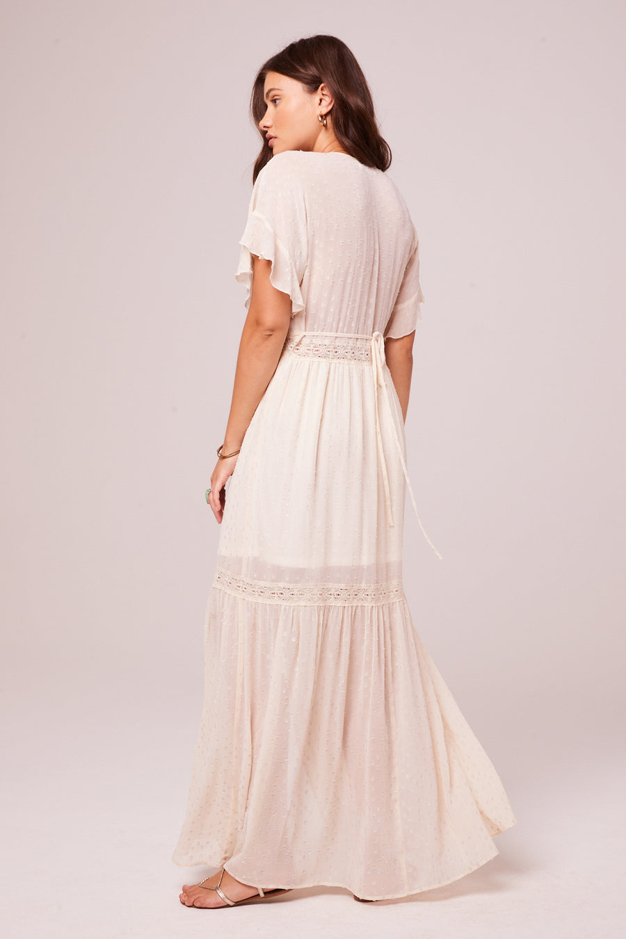 Trena Cream Inset Lace Maxi Dress Master