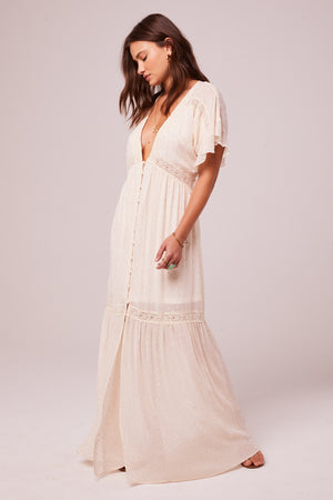 Trena Cream Inset Lace Maxi Dress Front