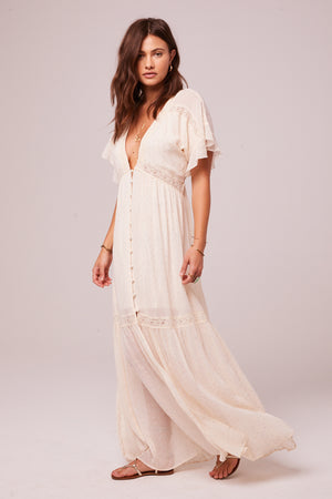Trena Cream Inset Lace Maxi Dress Side