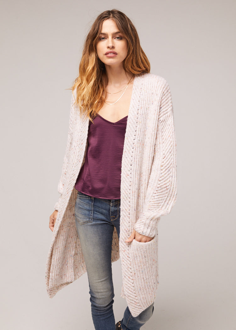 Tyne Oversized Ivory Cardigan Wrap Sweater Close