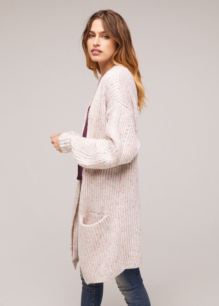 Tyne Oversized Ivory Cardigan Wrap Sweater Side