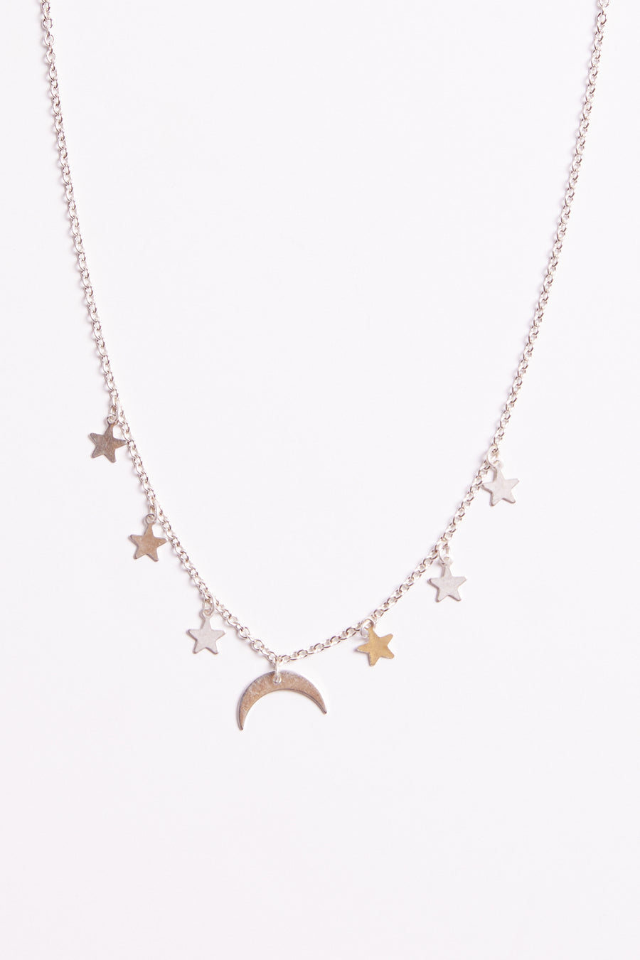 Under The Stars Silver Moon Necklace Close