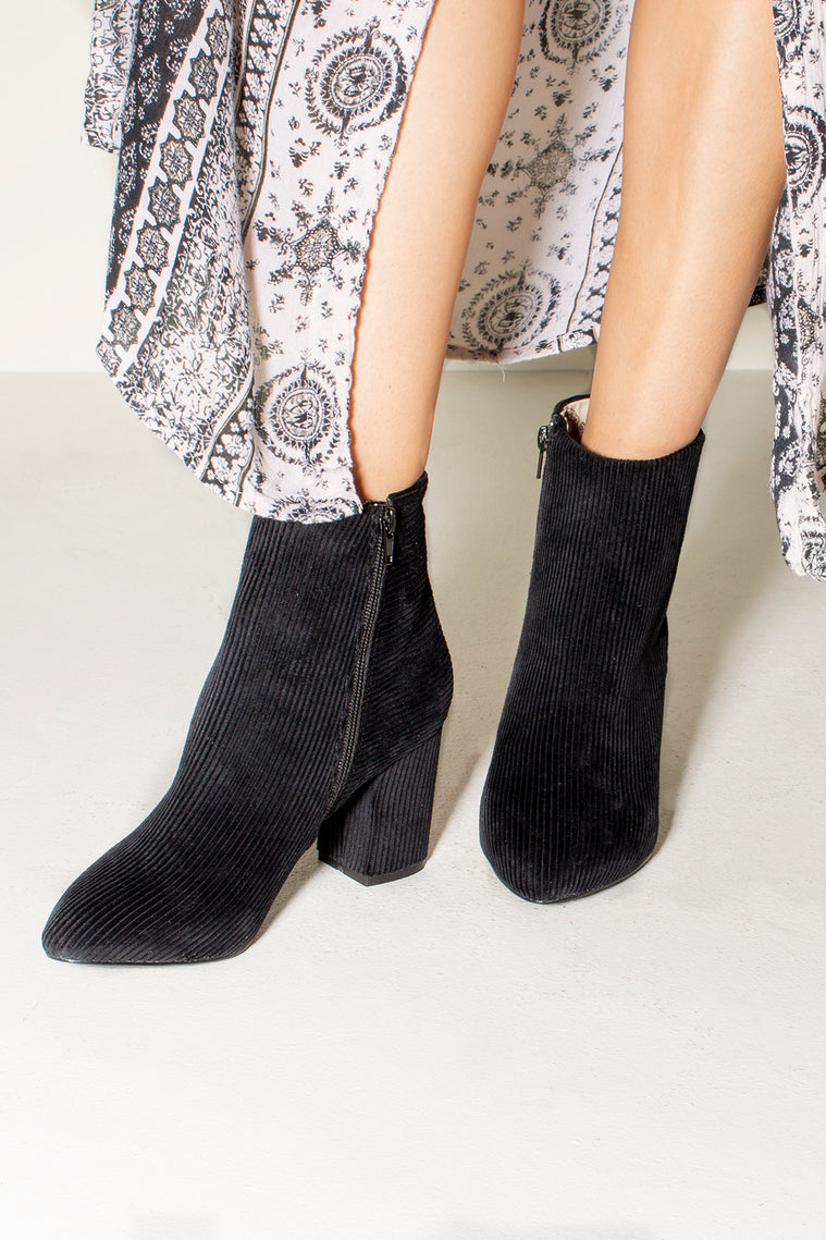 Andrea Corduroy Black Ankle Booties Side