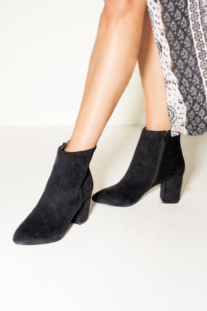 Andrea Corduroy Black Ankle Booties Detail