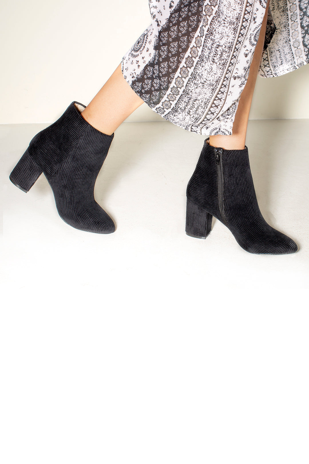 Andrea Corduroy Black Ankle Booties Master