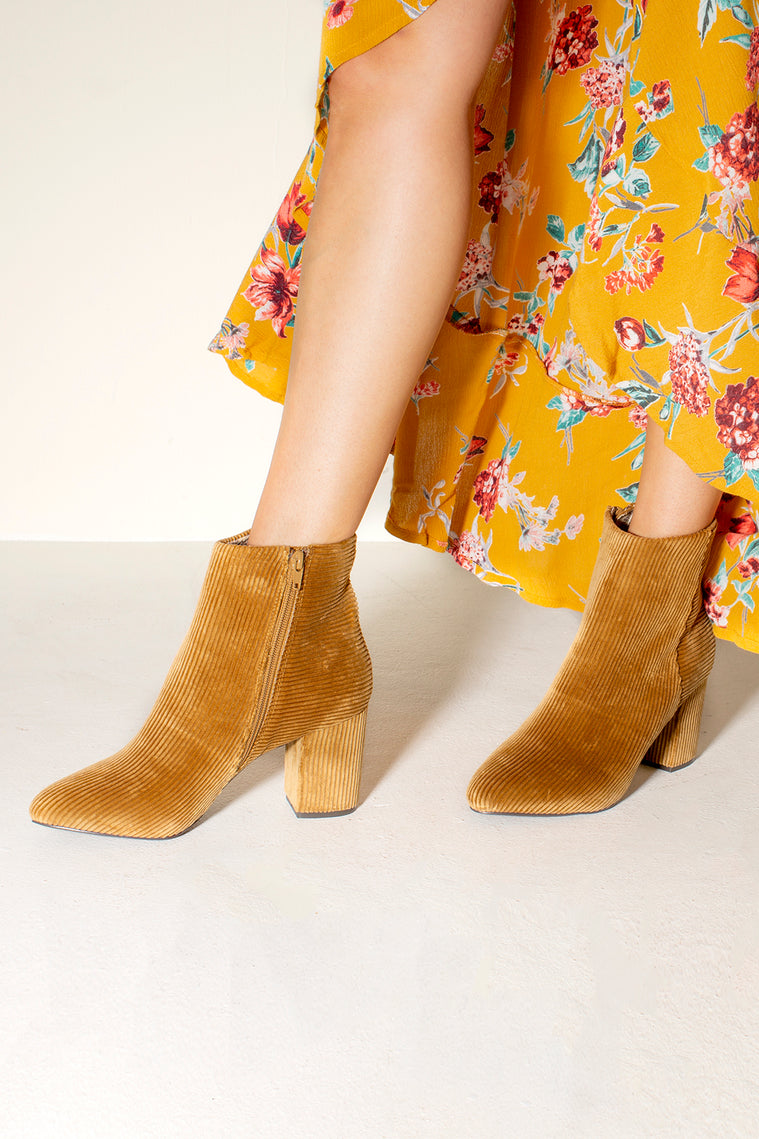 Andrea Tan Corduroy Ankle Booties Side
