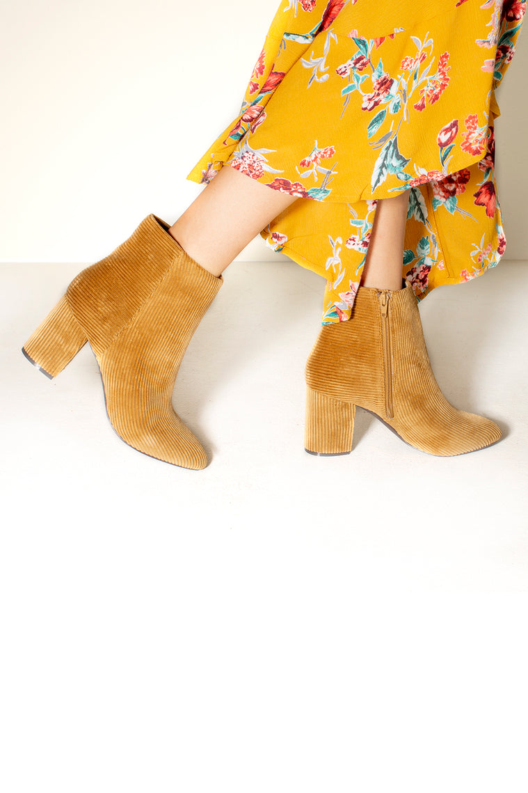 Andrea Tan Corduroy Ankle Booties Side Detail