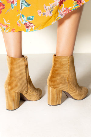 Andrea Tan Corduroy Ankle Booties Back Detail