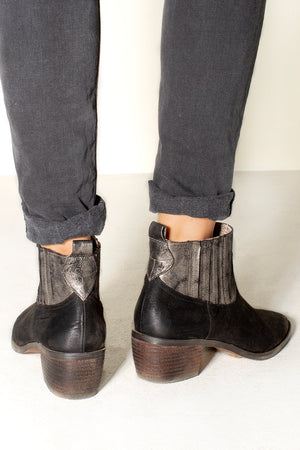 Borderline Micro Cow Suede Black Booties Back