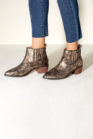 Borderline Micro Cow Suede Bronze Booties Side