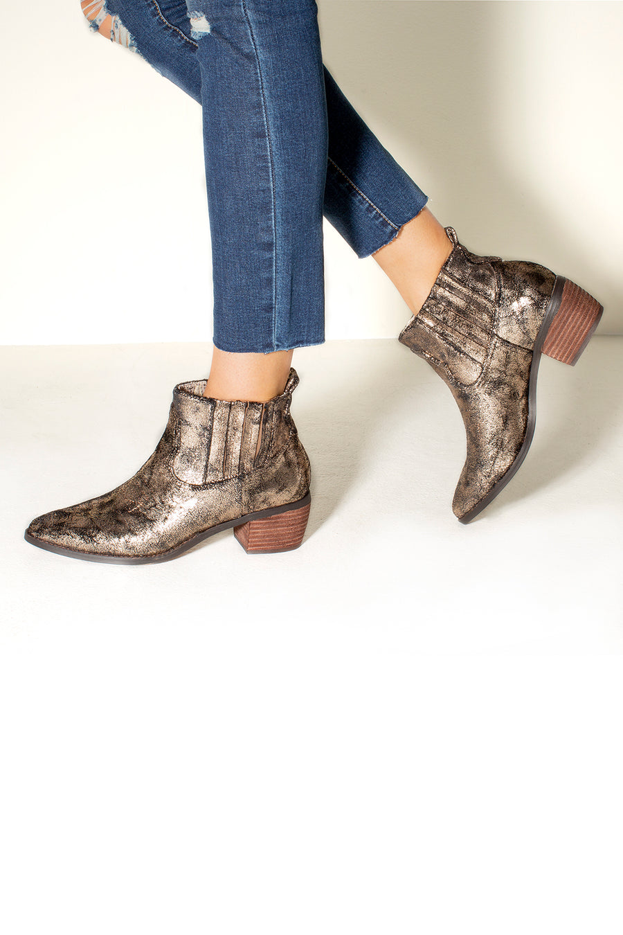 Borderline Micro Cow Suede Bronze Booties