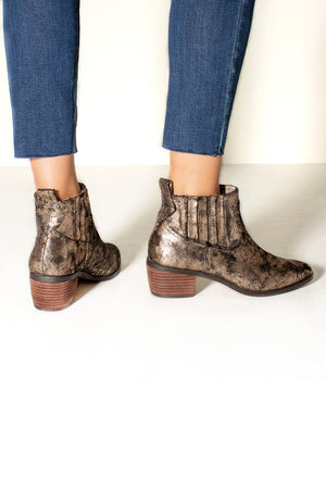 Borderline Micro Cow Suede Bronze Booties Back