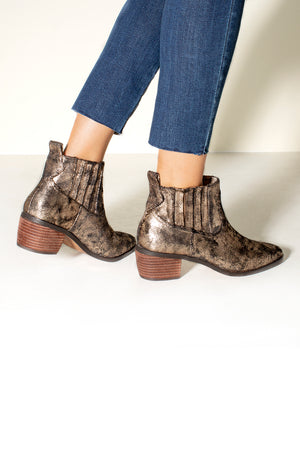 Borderline Micro Cow Suede Bronze Booties Back Detail