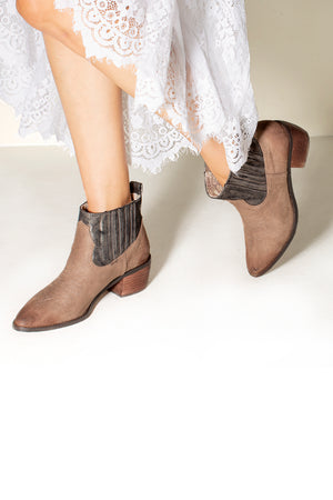 Borderline Micro Cow Suede Taupe Booties Detail