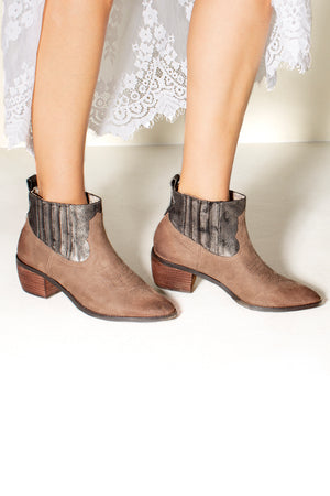 Borderline Micro Cow Suede Taupe Booties Side