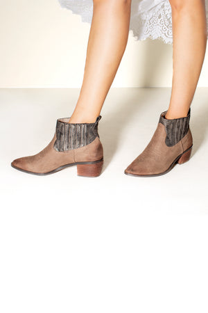 Borderline Micro Cow Suede Taupe Booties Close