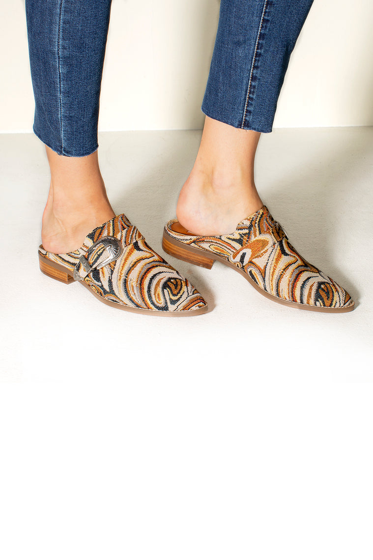 Greta Faux Pony Buckle Loafer Mules Close Detail