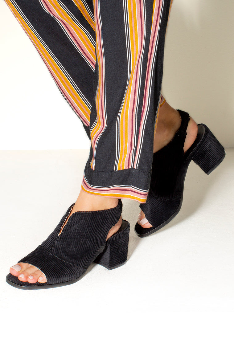 Jordan Open Toe Slingbacks Black Corduroy