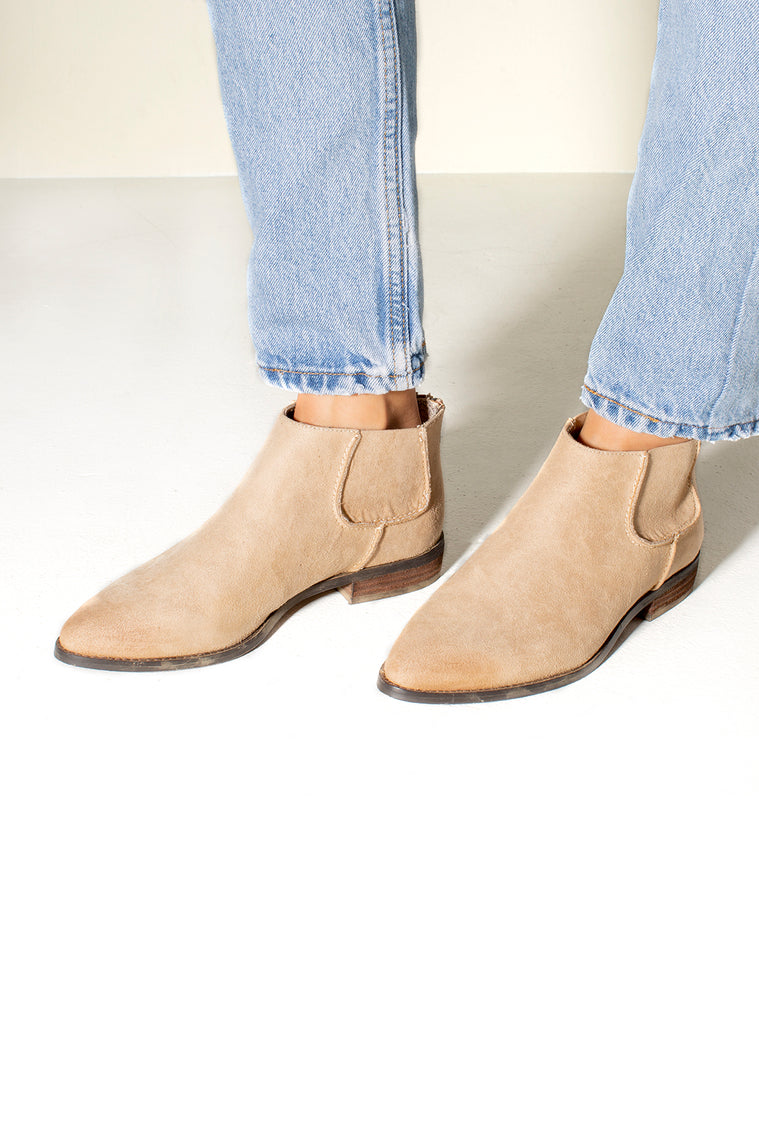 Madison Micro Suede Ankle Boot Natural