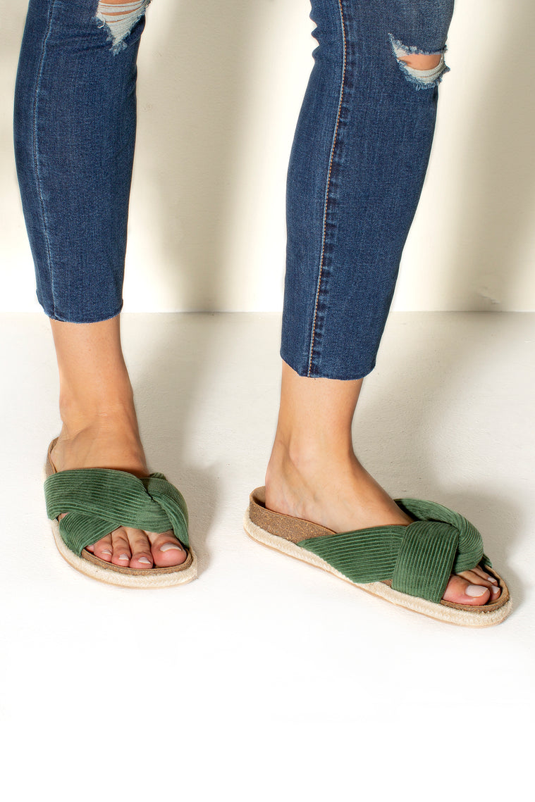 Move Over Slide Sandal Olive Corduroy