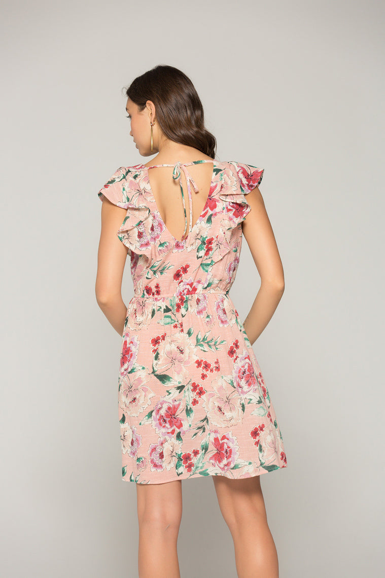 Valentina Blush Floral Print Ruffle Mini Dress Back