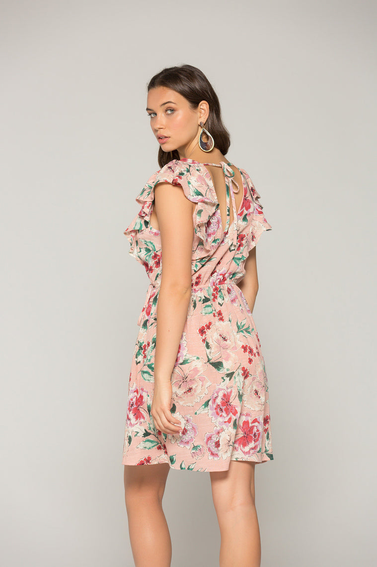Valentina Blush Floral Print Ruffle Mini Dress Back2