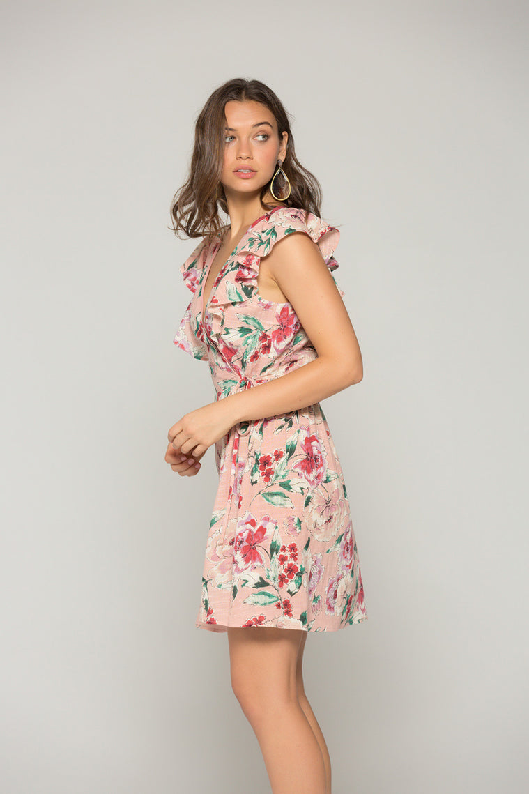 Valentina Blush Floral Print Ruffle Mini Dress Side2