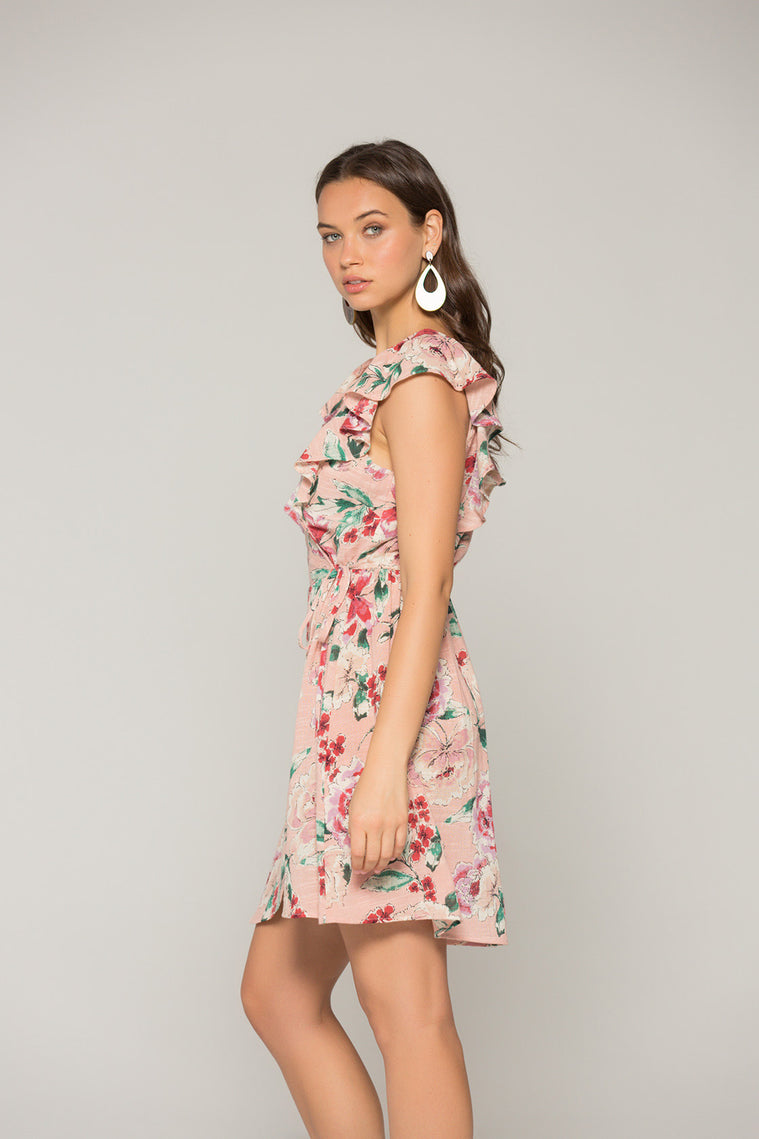 Valentina Blush Floral Print Ruffle Mini Dress Side3