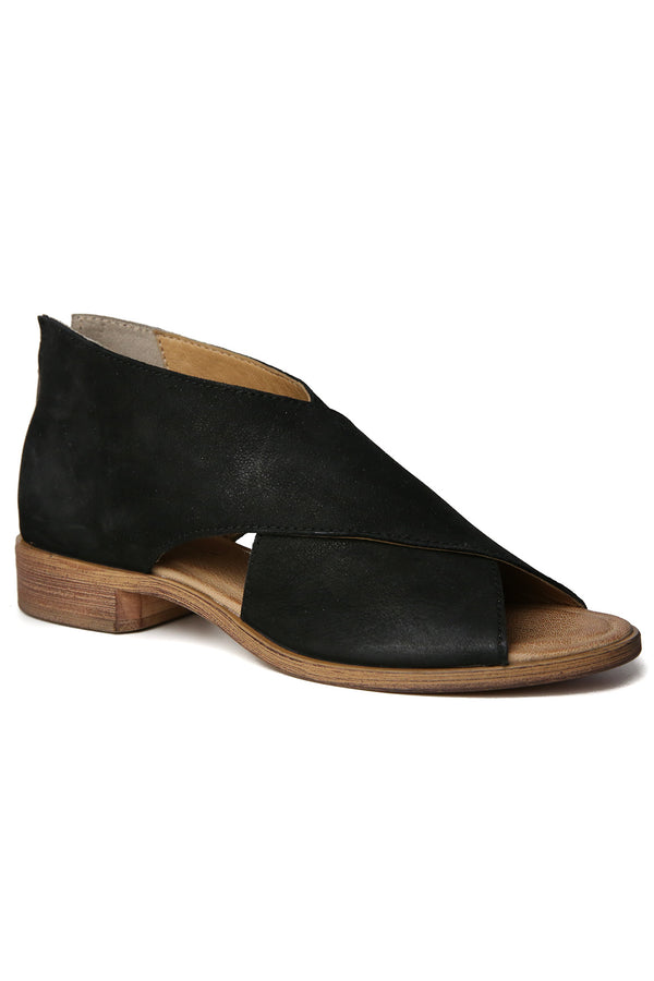 Venice Black Leather Wrap Sandal Front