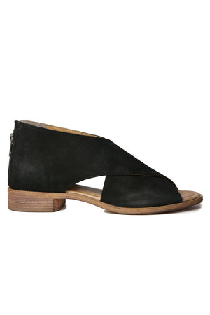 Venice Black Leather Wrap Sandal Side