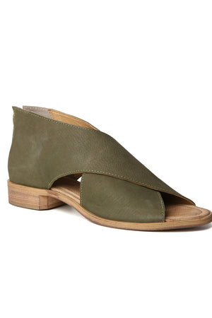 Venice Olive Leather Wrap Sandal Front