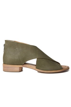 Venice Olive Leather Wrap Sandal Side