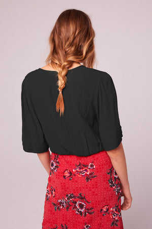 Venice Beach Black Drawstring Top Back