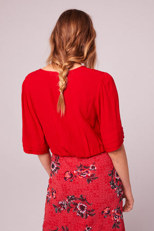 Venice Beach Red Drawstring Top Back