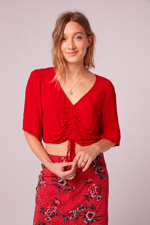 Venice Beach Red Drawstring Top Front